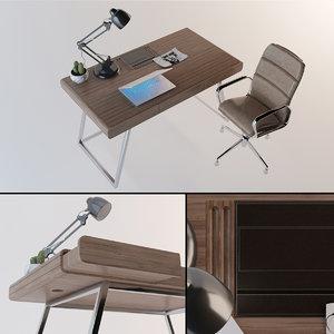 contemporary artist desk office chair 3D model