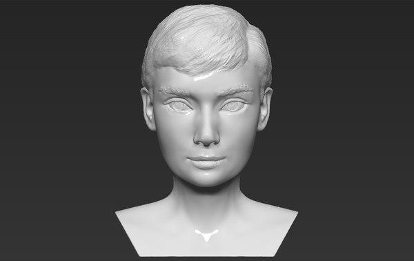 audrey hepburn bust ready 3D model