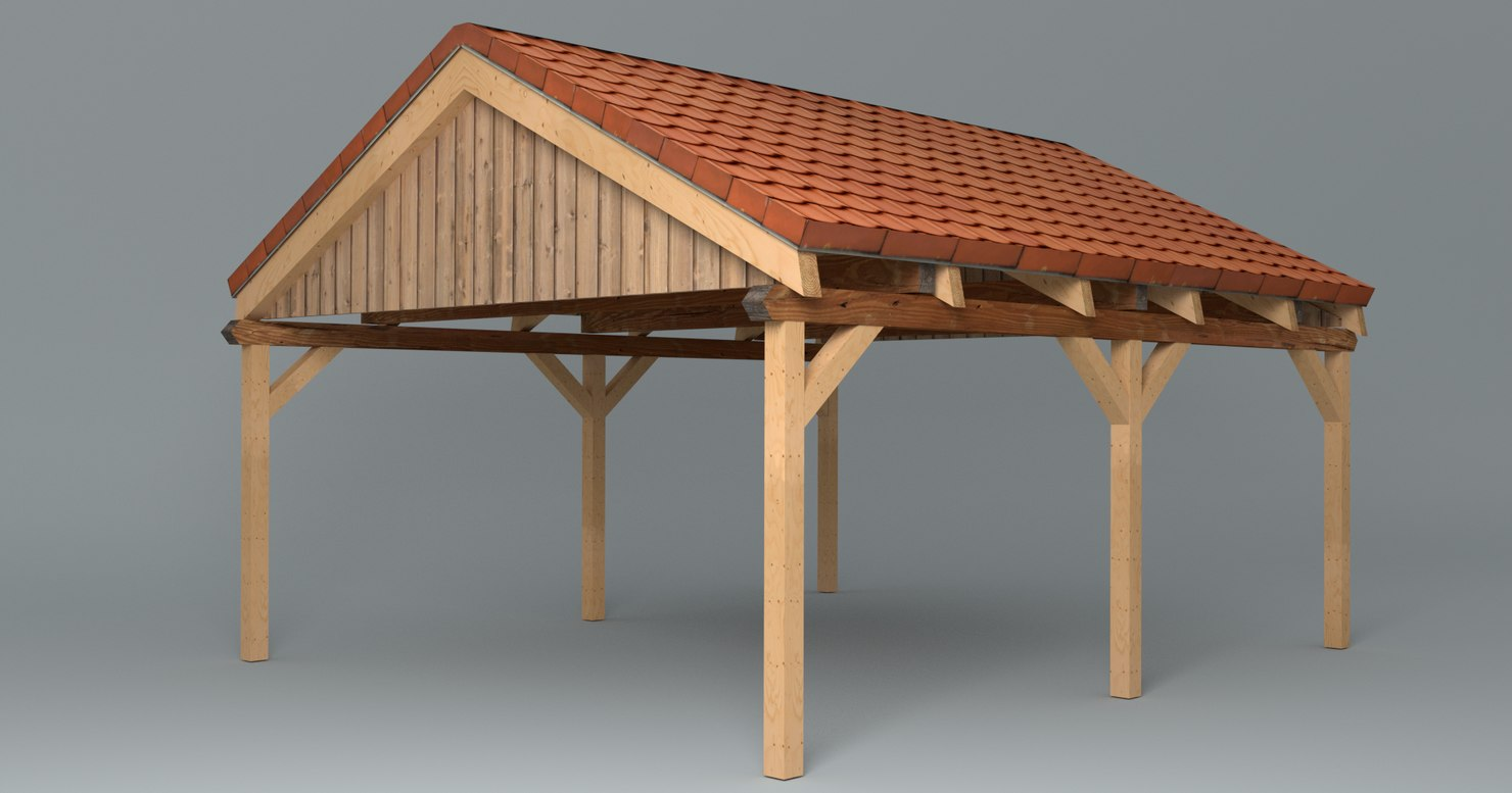 Wooden Carport With Saddle Roof Lowpoly