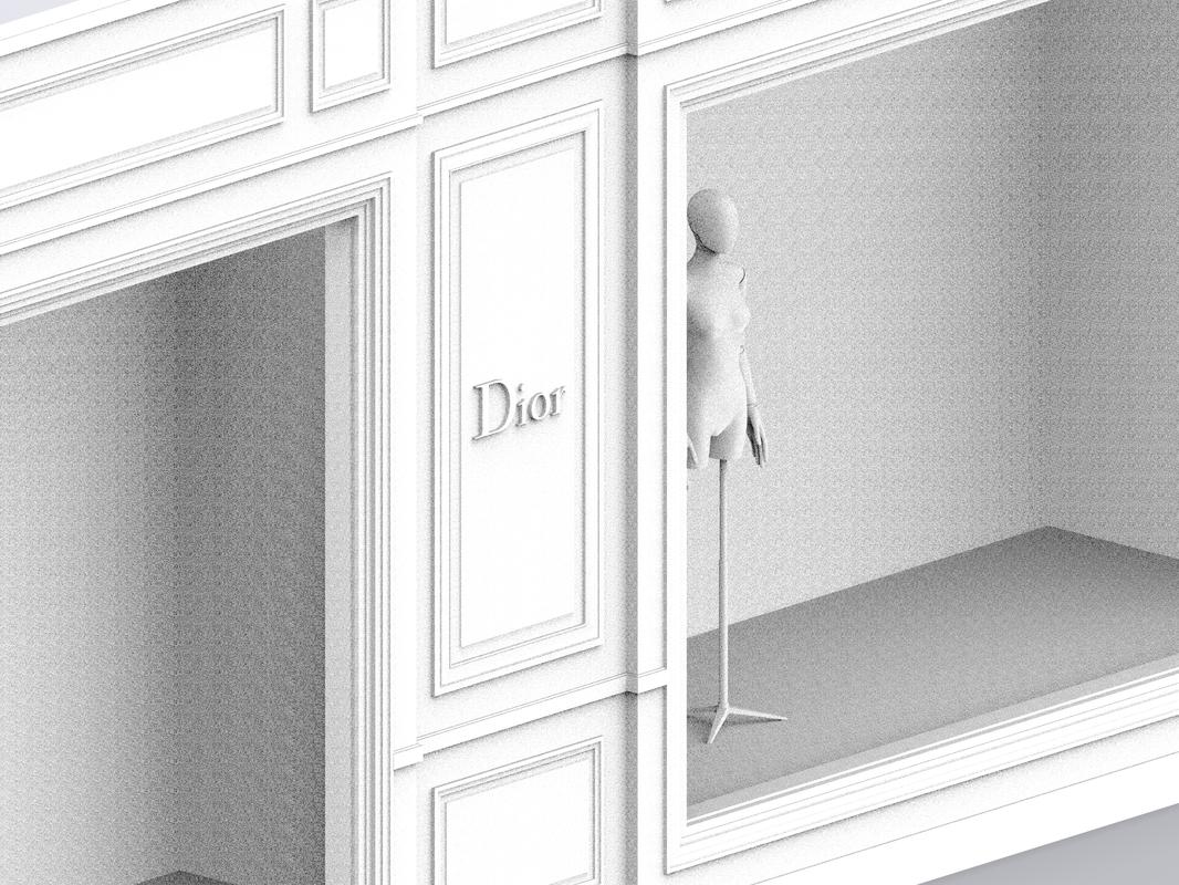 3D storefront dior boutique avenue model