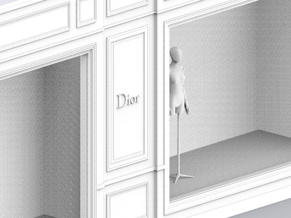 3D storefront dior boutique avenue model