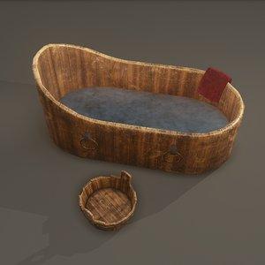 wooden medieval wash tub 3D model