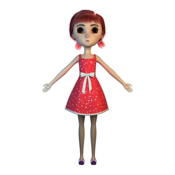 3D female girl hairs xgen