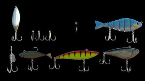 3D model set 10 fishing hooks