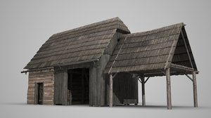 cottage cowshed stable 3D model