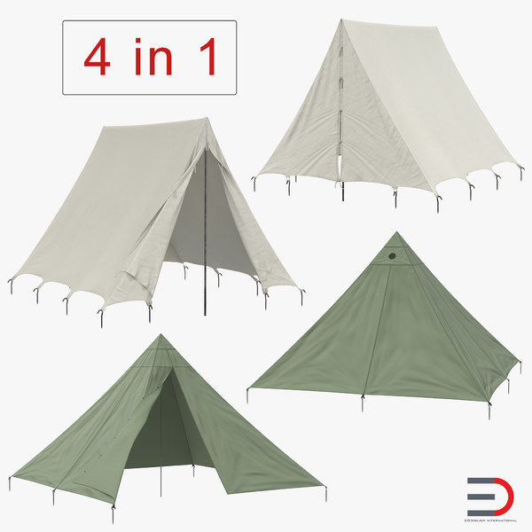 3D vintage camping tents