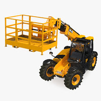 JCB 535 Telehandler Forklift Access Platform Dirty Rigged 3D Model