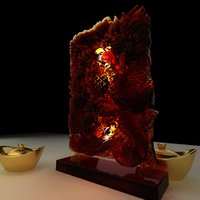 3D model chinese dragon phoenix carving