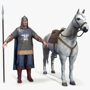 3D medieval russian knight horse