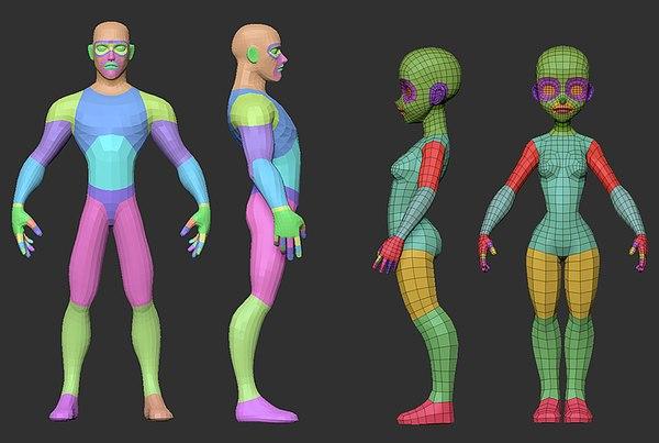 male female base mesh 3D model