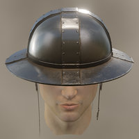 3D medieval knight kettle hat model