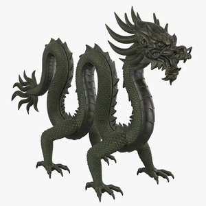 3D model chinese dragon rig clr