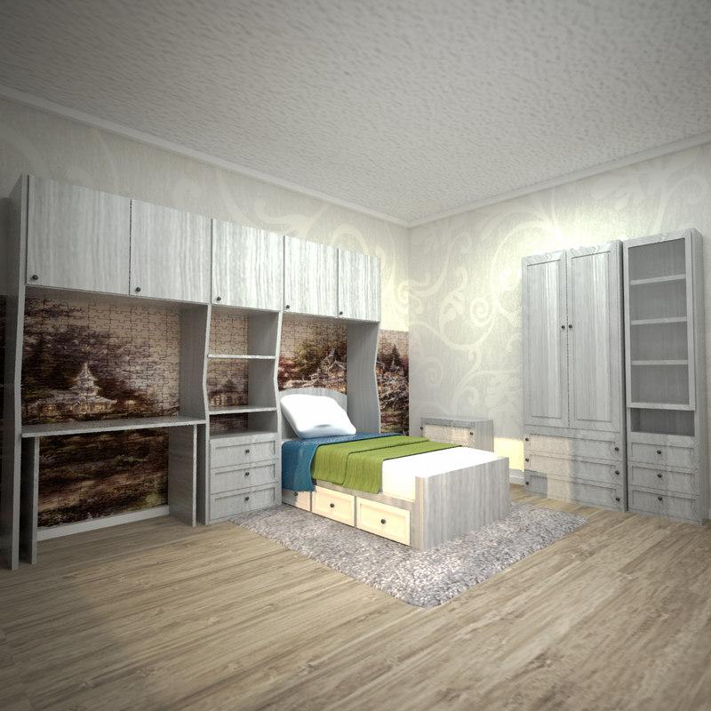 3D model room bedroom interior