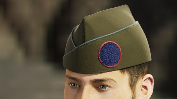 3D military garrison cap circle