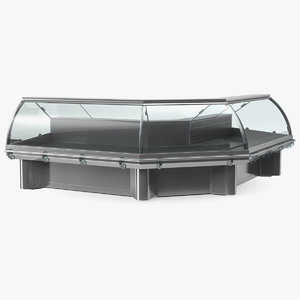 bend glass meat display 3D
