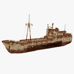 3D rusty ship wreck