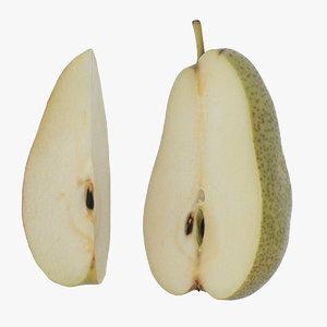 3D half slice pear model