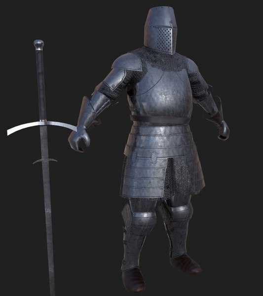 3D knight claymore pbr model
