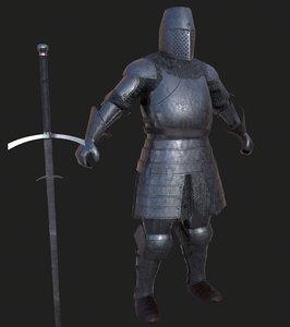 3D knight claymore pbr model