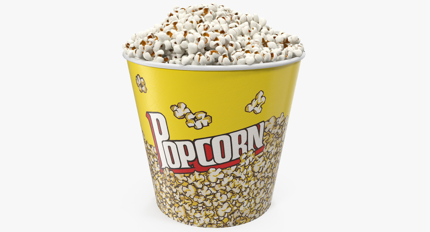 3D big popcorn popped corn model