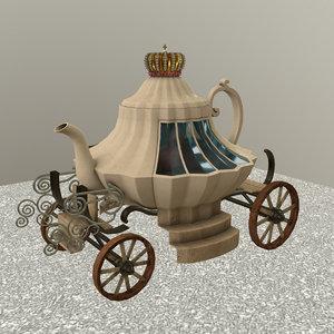 3D decorated teapot cart