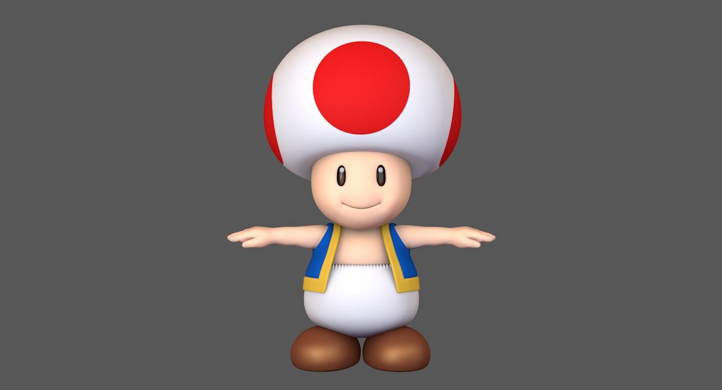 3D toad toadstool mushroom super mario