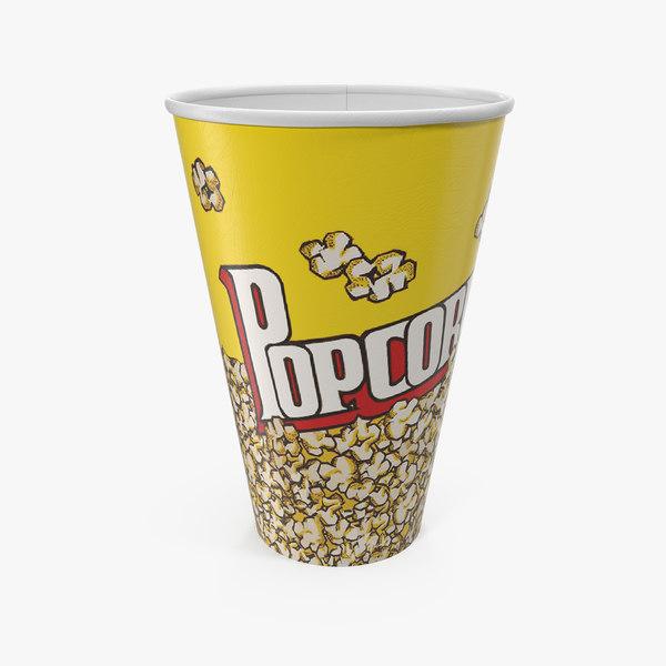 paper popcorn cup 3D model