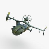3D model futuristic sci fi space fighter