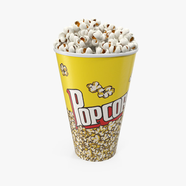 3D paper popcorn cup popped model