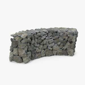 rustic bend stone wall 3D model