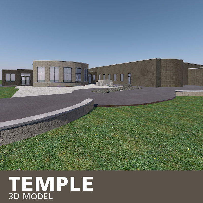 temple brick stone 3D