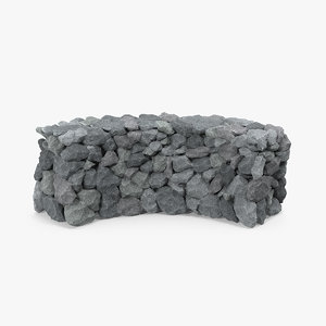 3D bend grey stone wall model