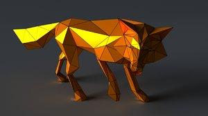 3D fox sculptures model