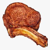 Beef Ribeye Steak Bone In 3D Model