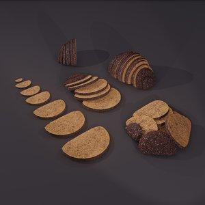3D model medieval rye bread