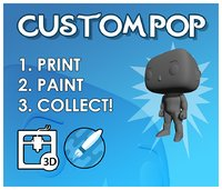 Custom Pop Man Hairless 3D Print Model