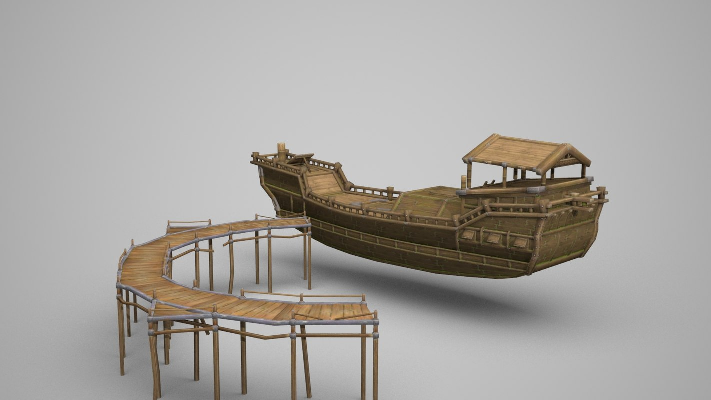 large wooden merchant 3D model