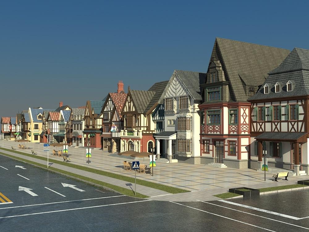 commercial shopping street 3D model