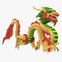 3D model colorful chinese dragon rigged