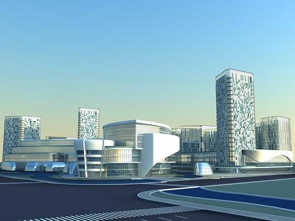futuristic skyscrapers 2 3D model