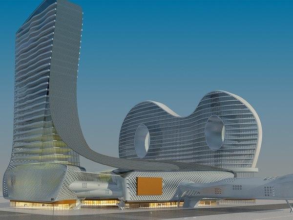 3D futuristic skyscrapers 3 model