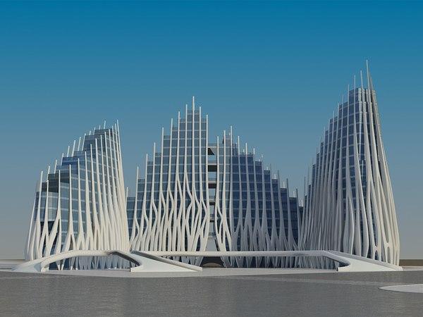 futuristic skyscrapers 4 3D model