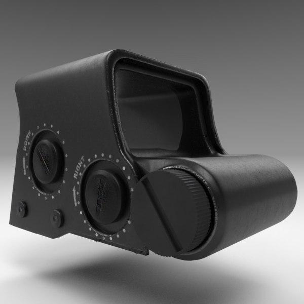 rifle gun holographic sight 3D model