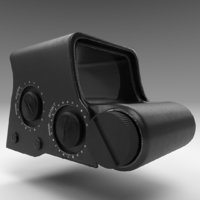 rifle gun holographic sight 3D model