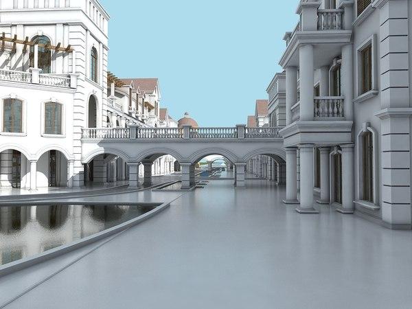 3D commercial shopping center model