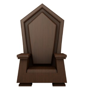 3D cartoon wood throne