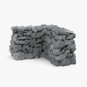 3D corner stone wall