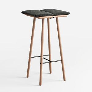 stool oak 3D