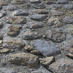 3D cobblestone scanned tiled model