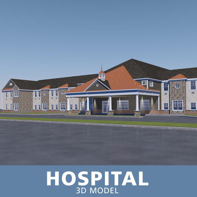 hospital entrance windows 3D model